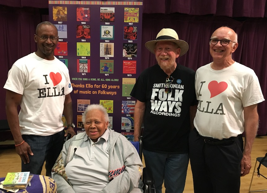 Ella Jenkins (2nd from left), Tony Seeger (far right), and Smithsonian Folkways staffers Tony Harvin (far left) and Atesh Sonneborn (2nd from right) at 2017 Square Roots Festival