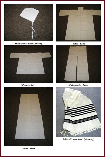 The items that make up a traditional Jewish shroud.