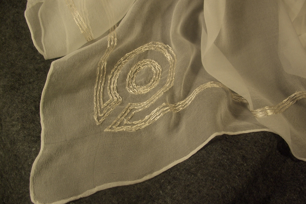 Gauze veil with floss embroidery.  All silk.  photo markmitchellburial.com