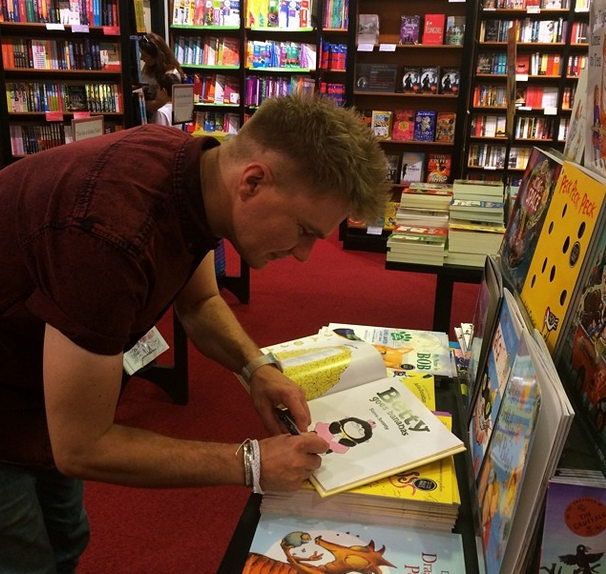 Signing the book in Waterstones, Chelsea branch.