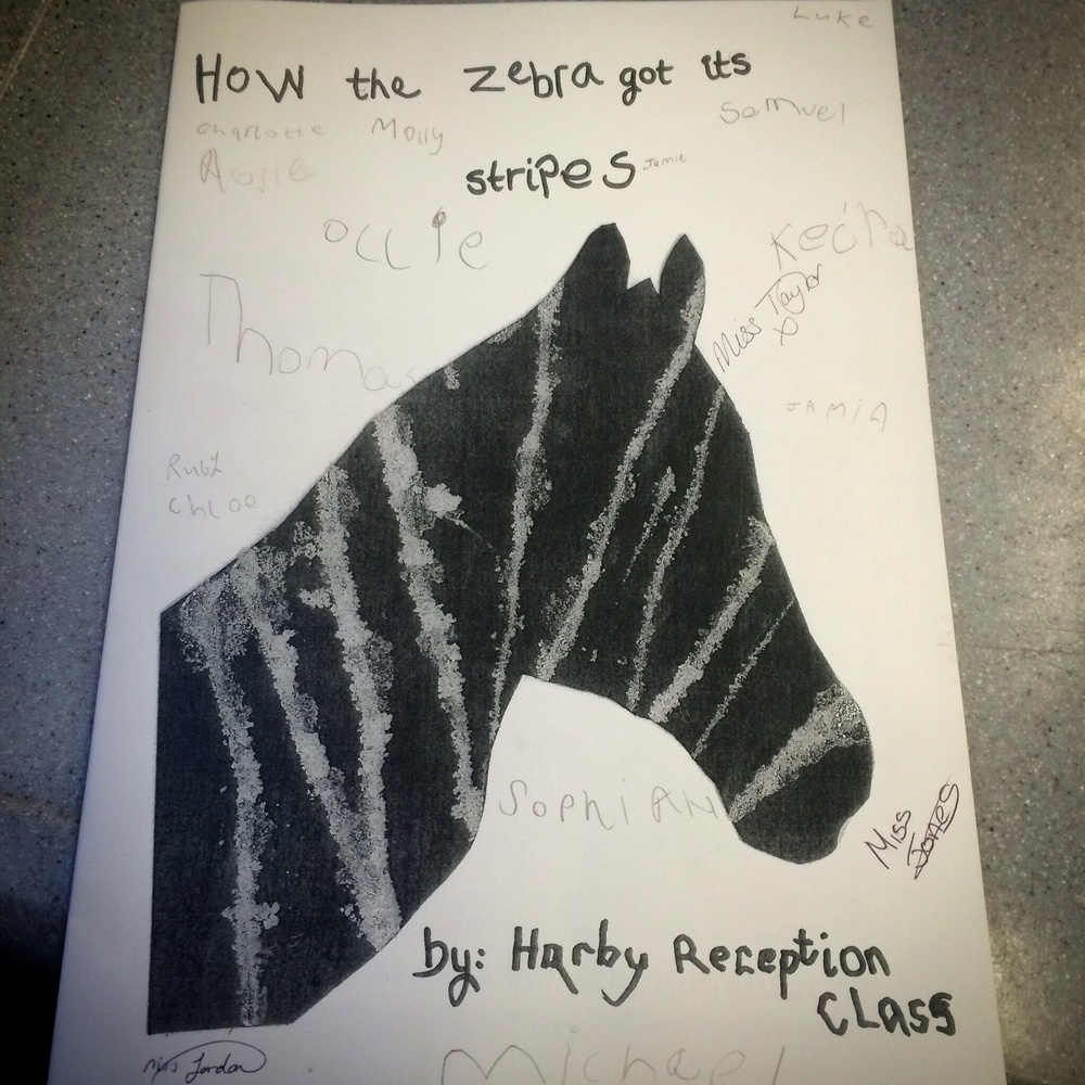 I asked all of the pupils and teachers of the winning class to sign the book. They signed theirs, while I signed mine!