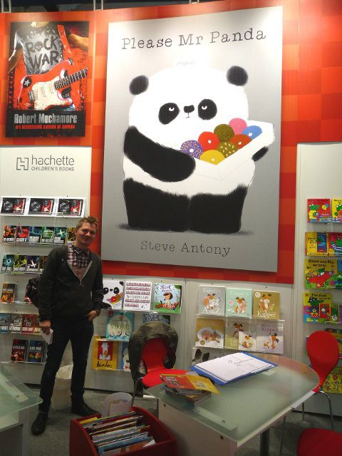 Mr Panda's big reveal at Bologna Children's Book Fair in 2014. Photo courtesy of Martin Salisbury