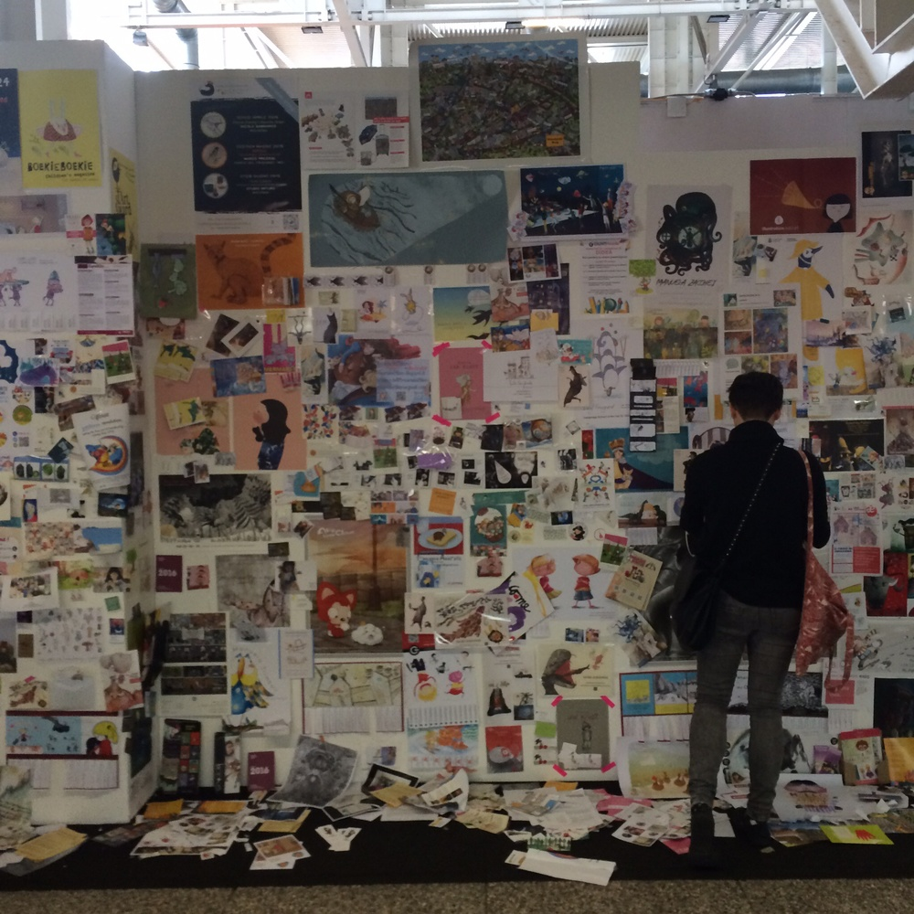 The 'illustrators' wall' at the fair.