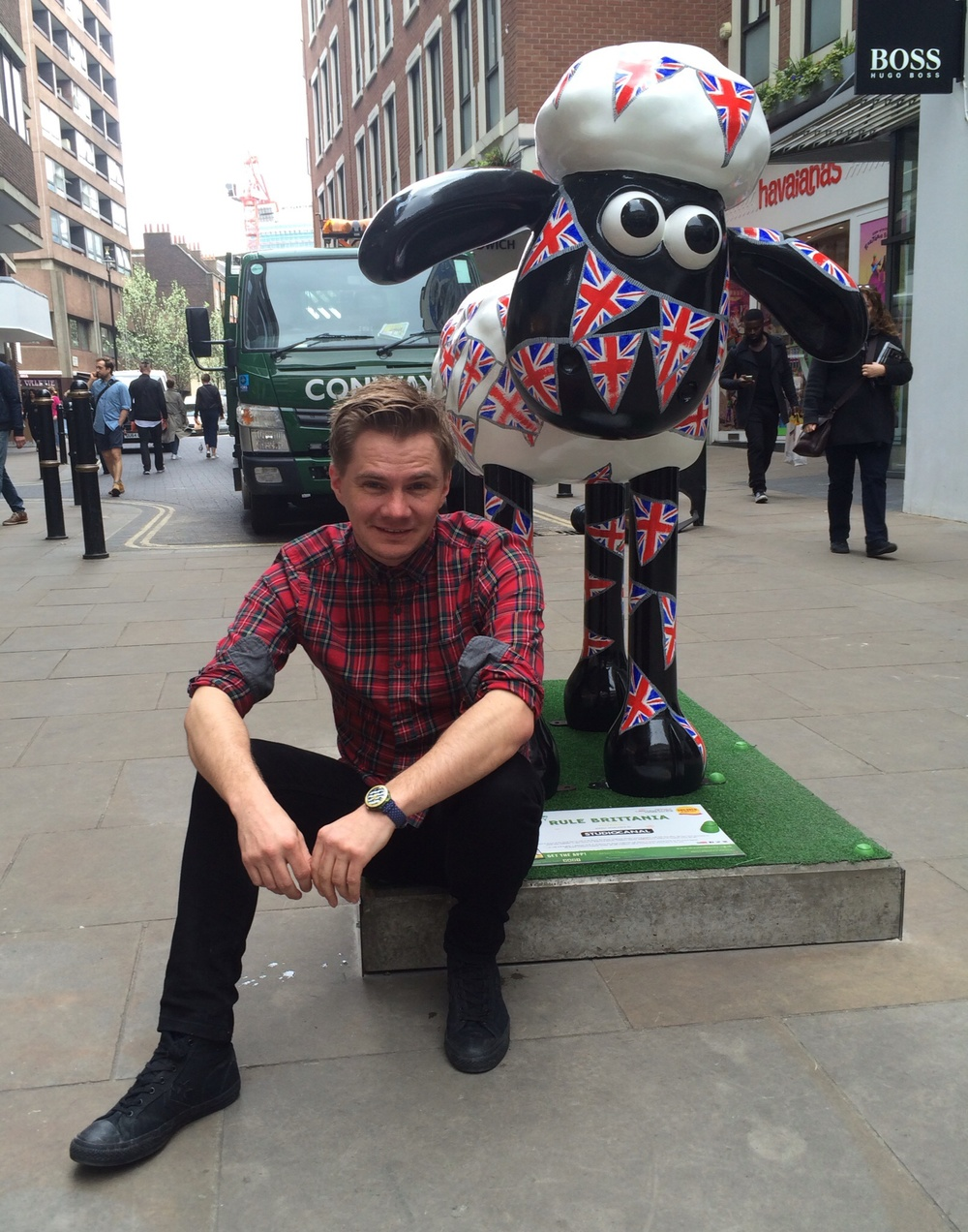 Me and my Shaun in the City, which is inspired by my picture book, 'The Queen's Hat'.