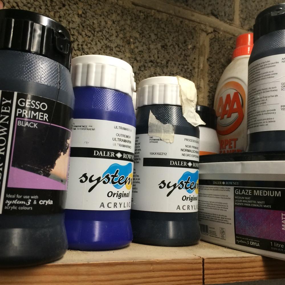 Acrylic paints.