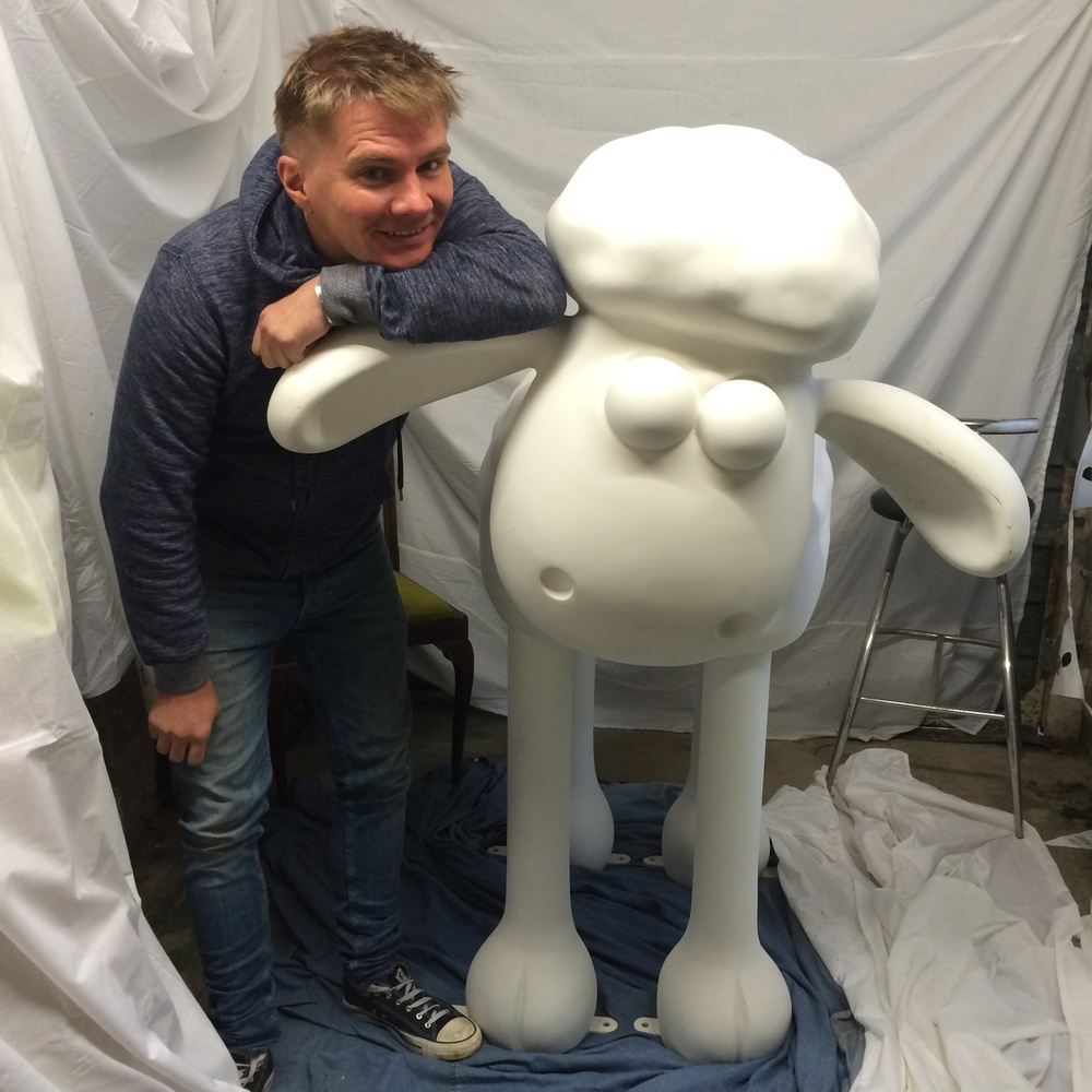 Me and my naked Shaun the Sheep. Initially, I was going to paint London icons all over it.