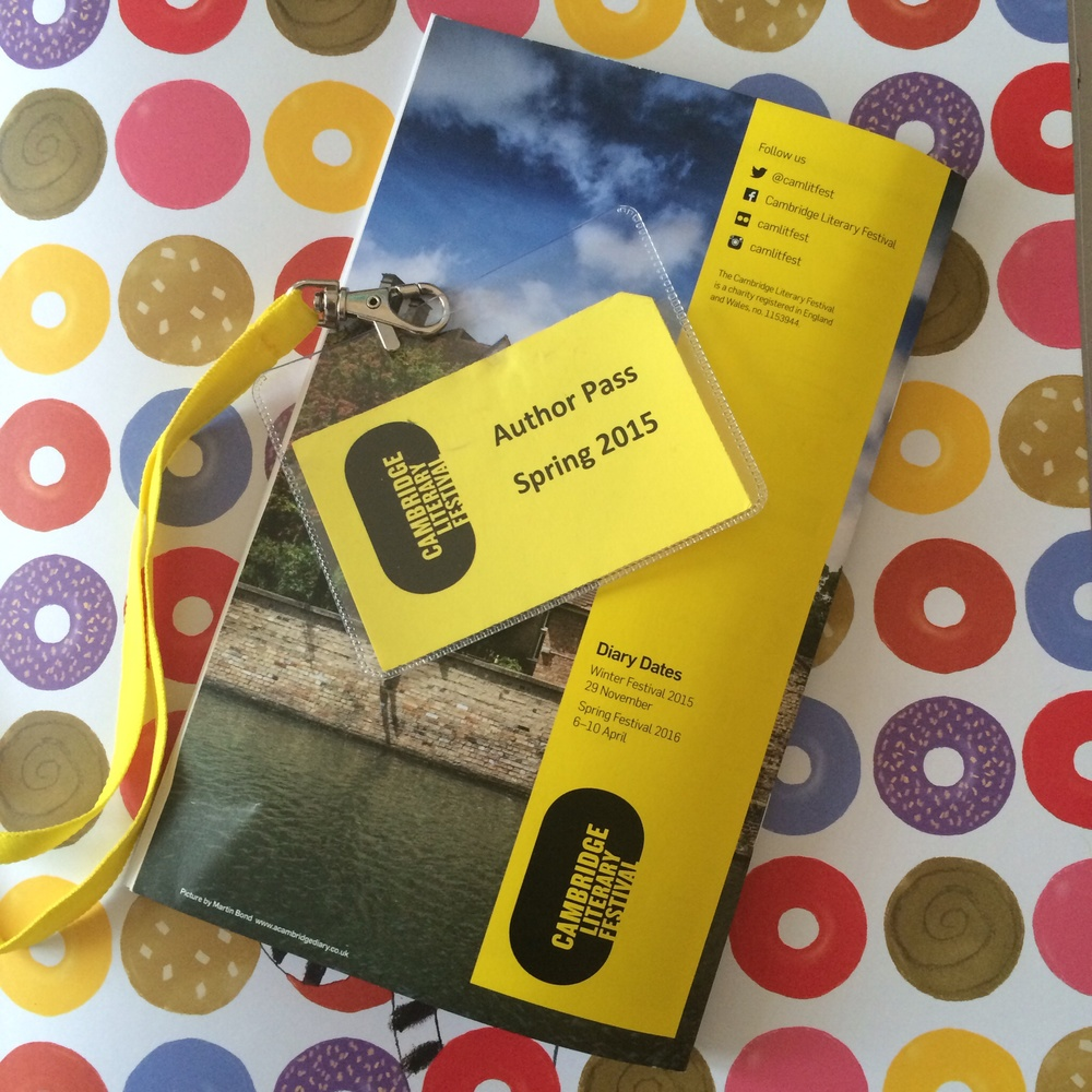 The programme and my author pass for the Cambridge Lit Fest, last Saturday.