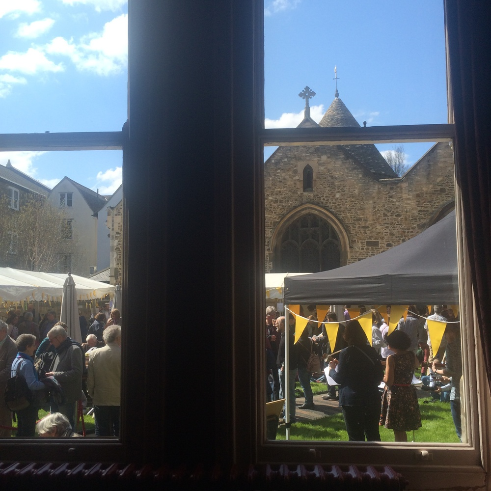 A quick shot of outside the window of the signing room at Cambridge Literary Festival.