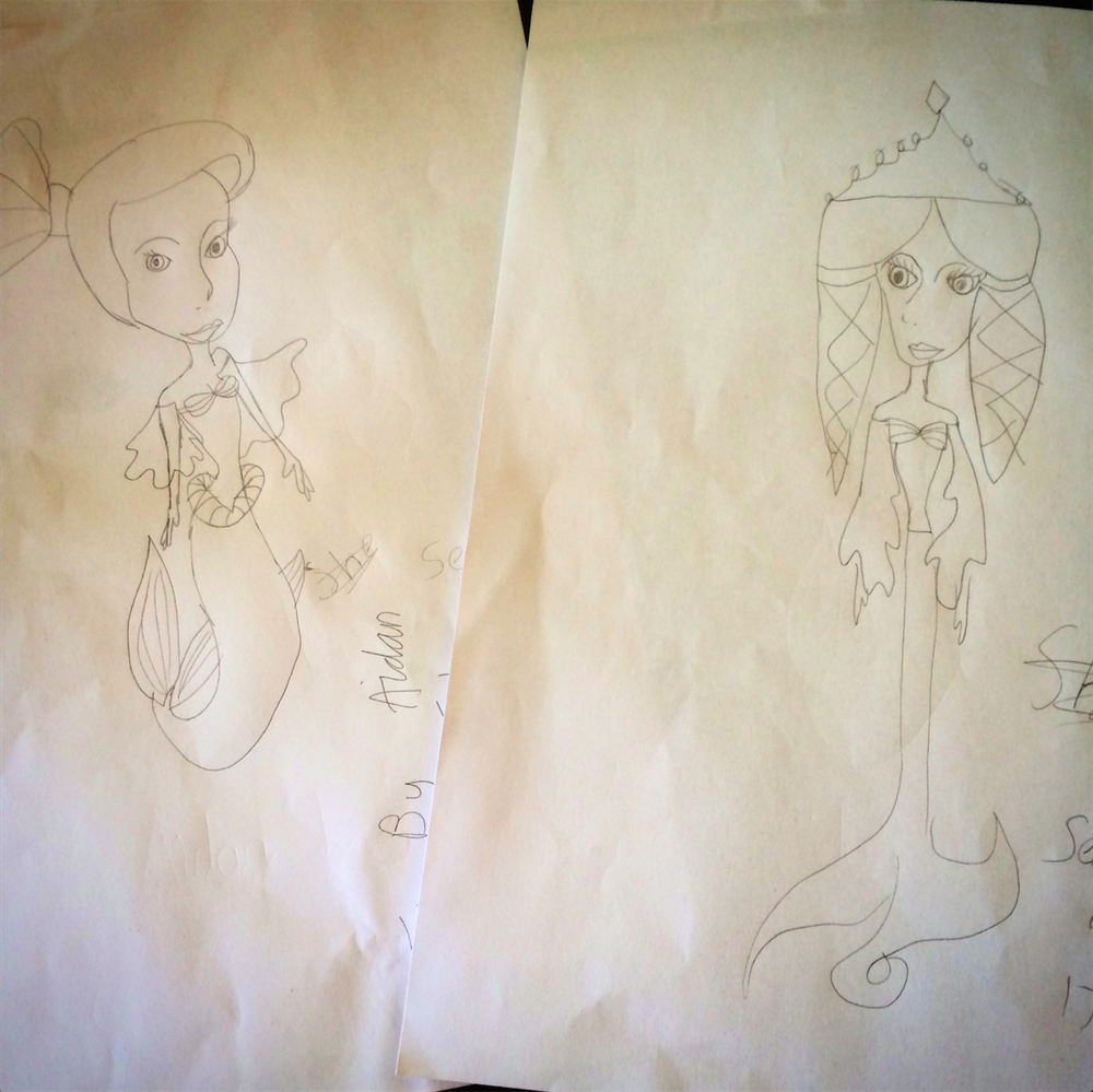 Amazing mermaid drawings, by Aiden.