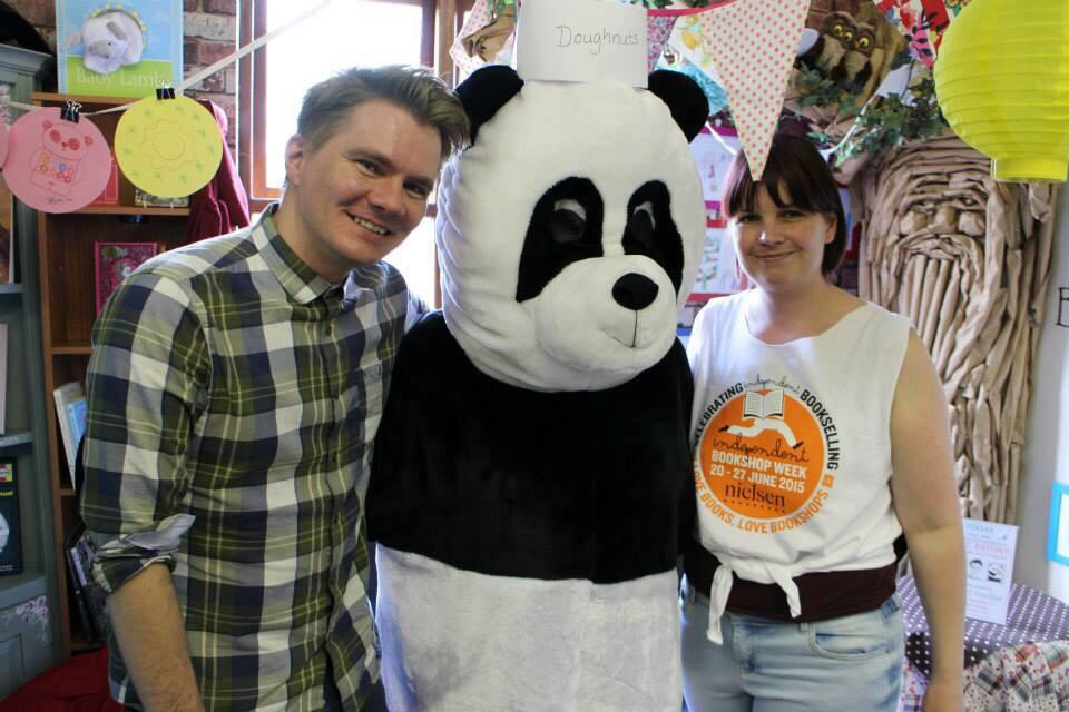 Me, Mr Panda (Michelle) and Hazel, proudly wearing her Independent Bookshop top.