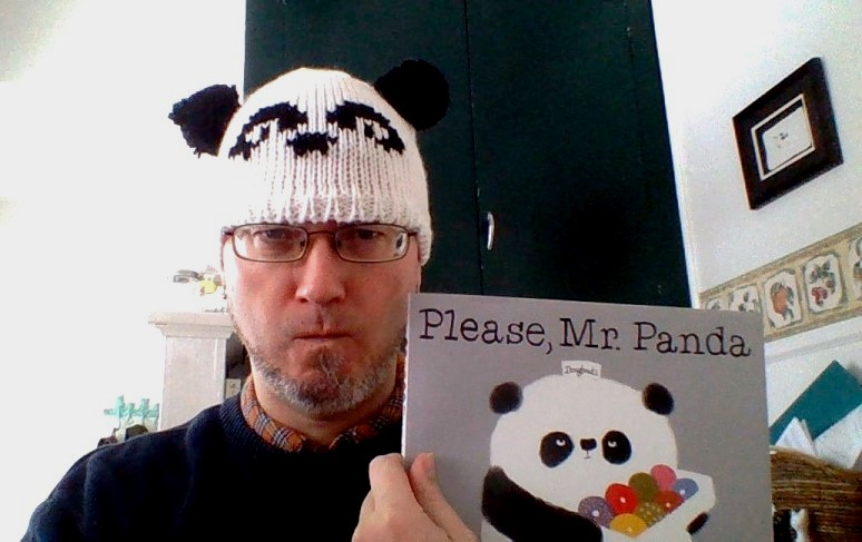 Wear a panda hat while reading the book, just like librarian, Tim. Thanks for empaling this photo, Tim!