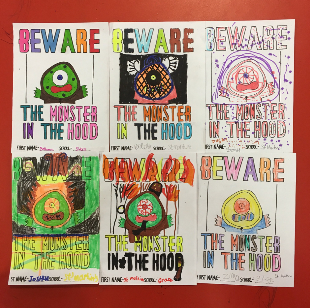 The winning entries to the MONSTER IN THE HOOD contest.