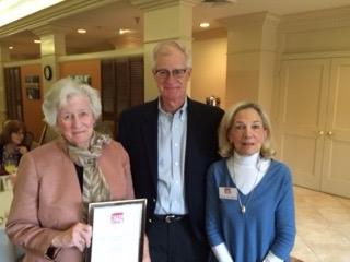 Volunteer of year Barbara Clark (left) with Chairman Steve Clark and Executive Director Betsy Doughtie.