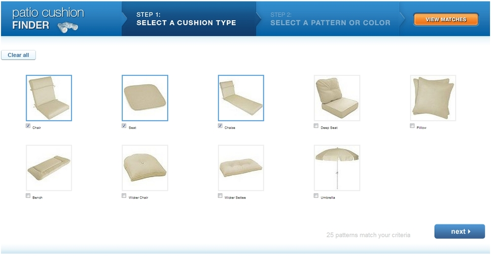 Consumer selects the visual matches of the cushions she wants to replace.