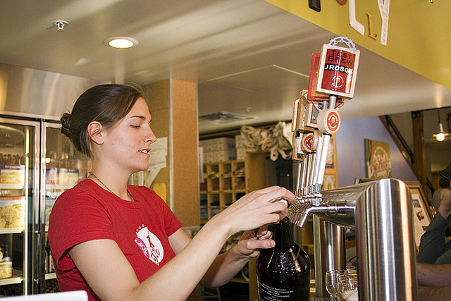 """ Filling a growler "" by  Buzz Anderson  is licensed under  CC BY 2.0"