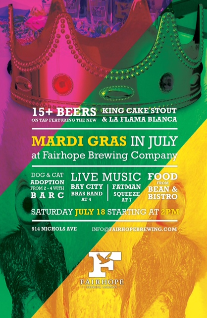 Fairhope Brewing Company - Mardi Gras in July Poster