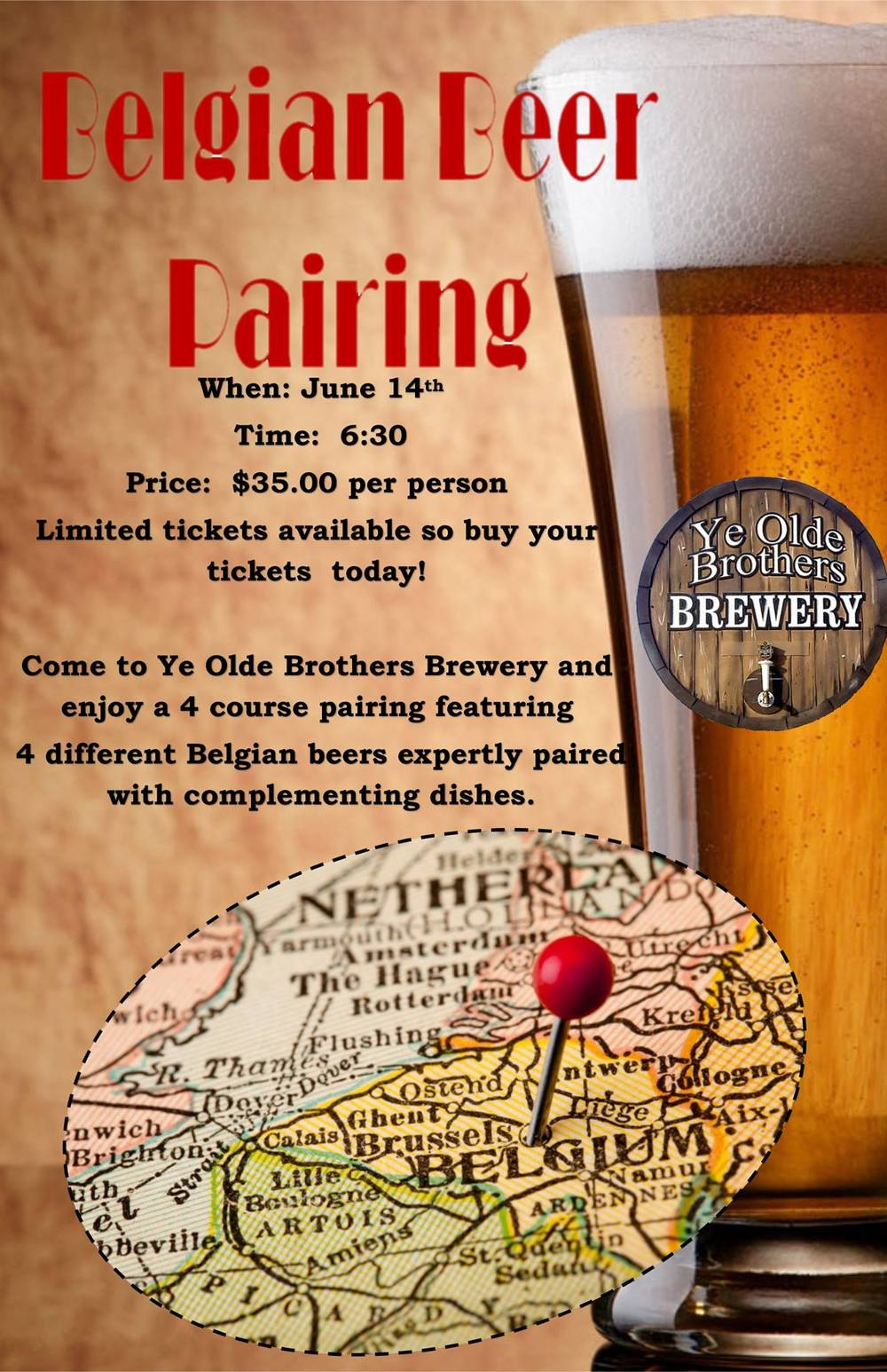 Official YOBB Belgian Beer Pairing Event Flyer (Courtesy of YOBB)