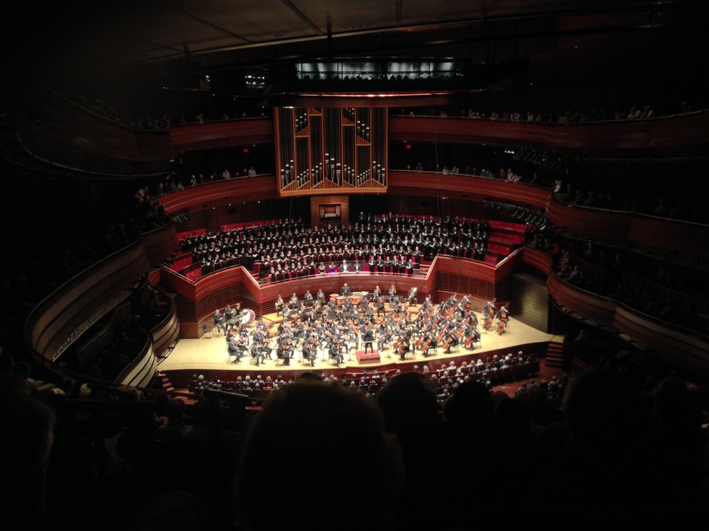 The Philadelphia Orchestra, Westminster Choir, and soloists at the conclusion of Beethoven's 9th Symphony