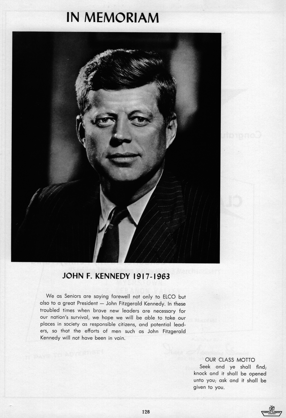 Final page of the 1964 Elco yearbook featuring JFK