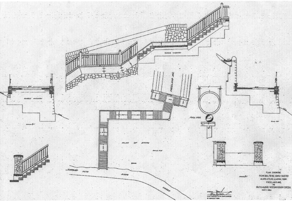 This is a reduction of an architect's plans for a new rail to be constructed for the Hundred Steps. It is dated May 1, 1924.