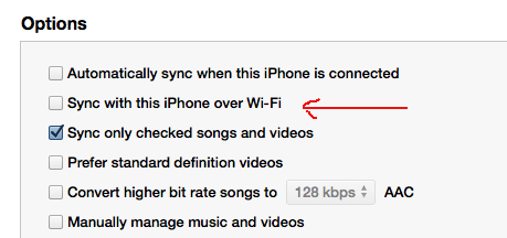 On the Summary page for an iOS device (iPad, iPhone) uncheck that box to disable WiFi sync.