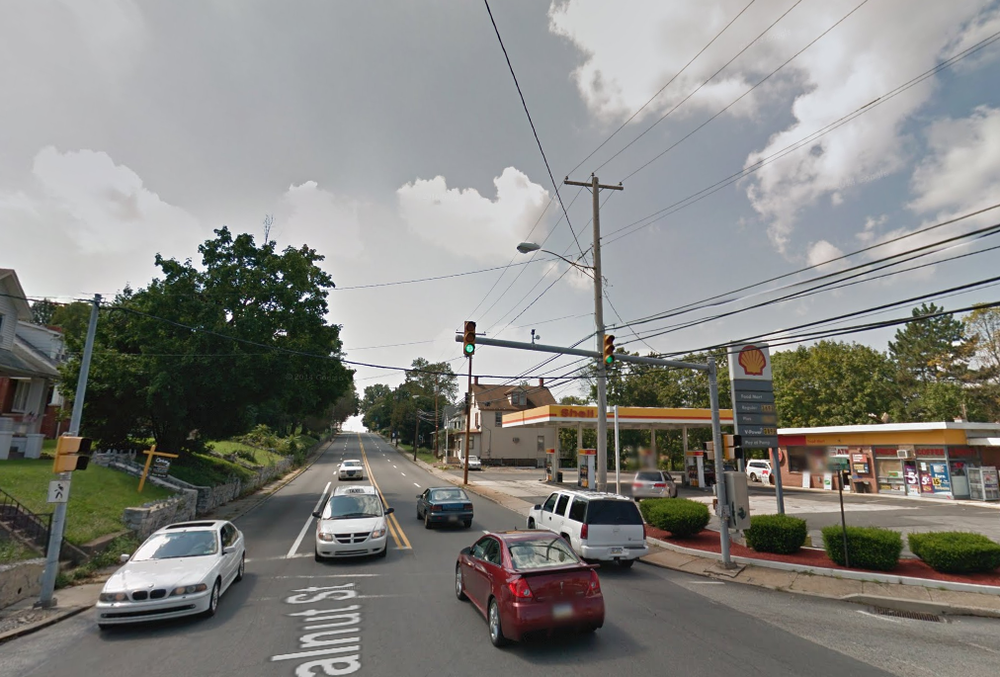 The corner of Walnut Street and S. Progress Avenue in Harrisburg, PA, approximately where I think the accident happened.