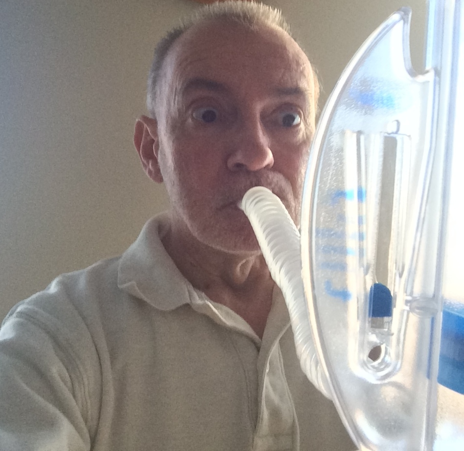 Here I am demonstrating the incentive spirometer