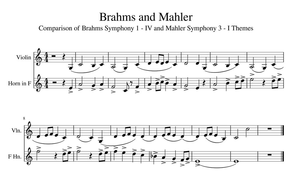 The upper violin line is the main theme from the fourth movement of Brahms's first symphony; the horn line is the opening theme from Mahler's third symphony.