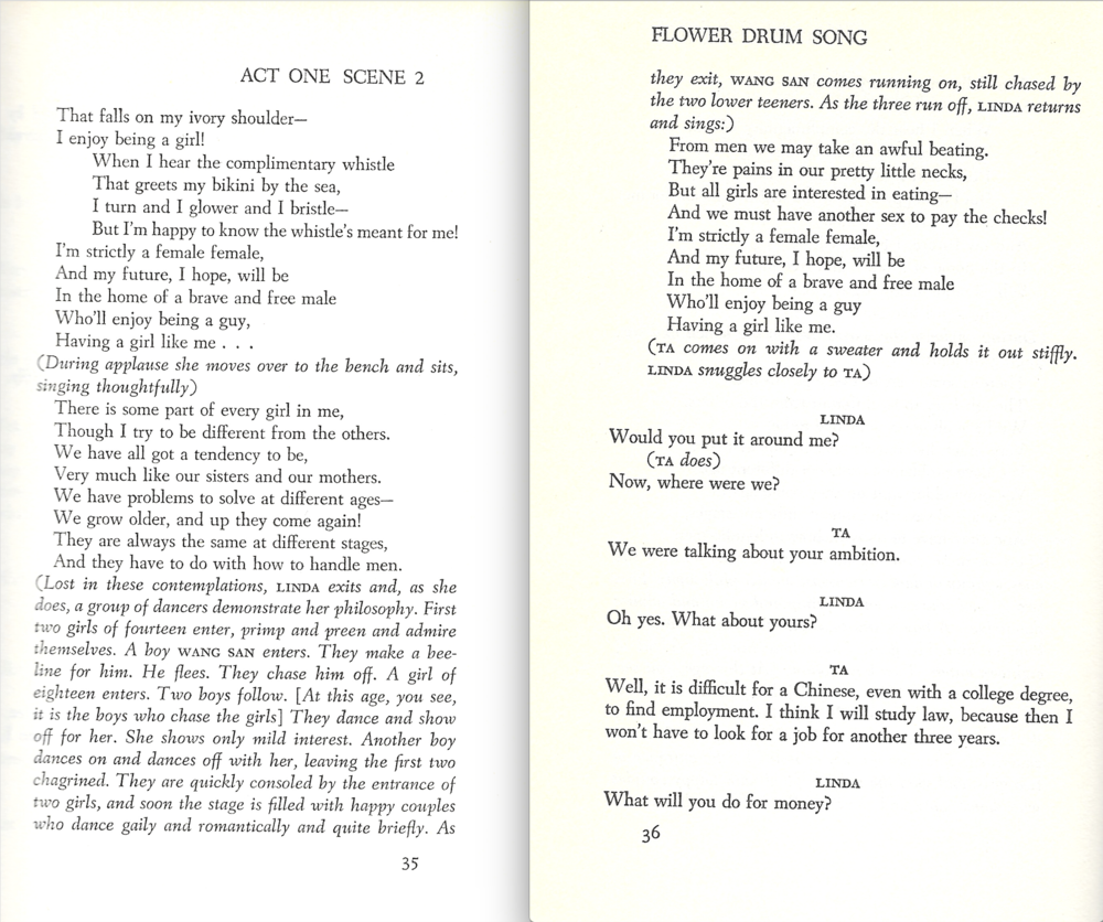 "Pages 35 and 36 of the  Flower Drum Song  libretto with the encore lyrics to ""I Enjoy Being a Girl"" and the description of the dance number. Click to enlarge"