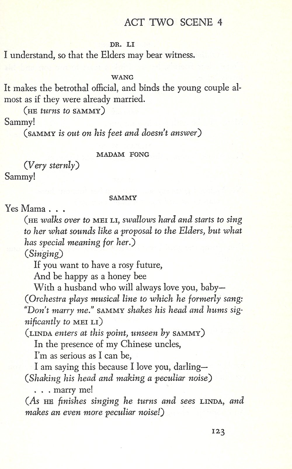 "Page 123 of the  Flower Drum Song  libretto with the reprise of ""Don't Marry Me"""