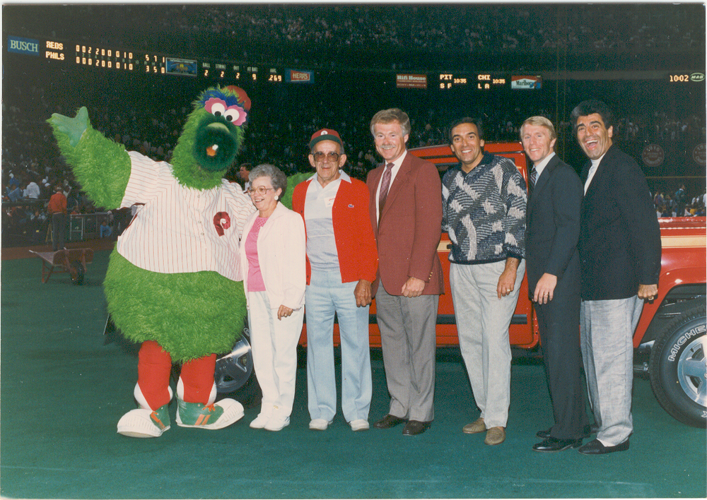 The Phillie Phanatic was part of the presentation ceremony