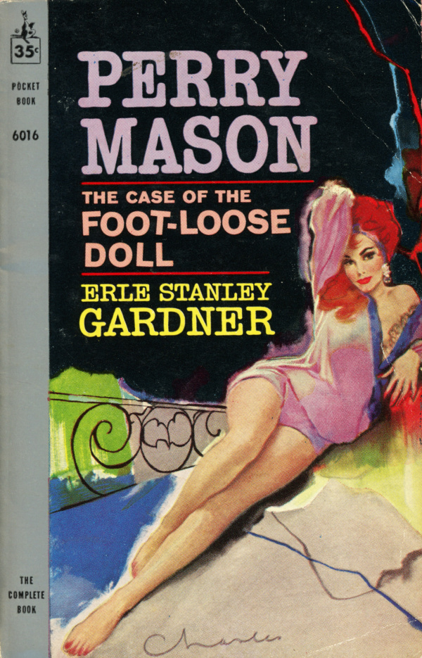 The cover to The Case of the Foot-Loose Doll, a typical cover for a Perry Mason paperback