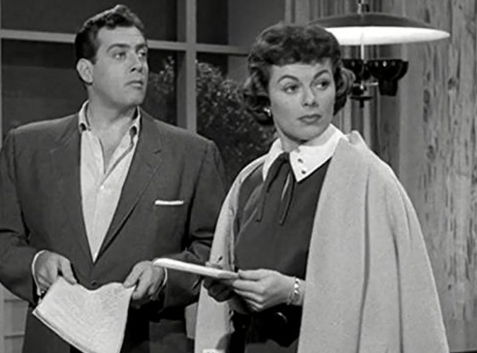Raymond Burr and Barbara Hale as Perry Mason and Della Street