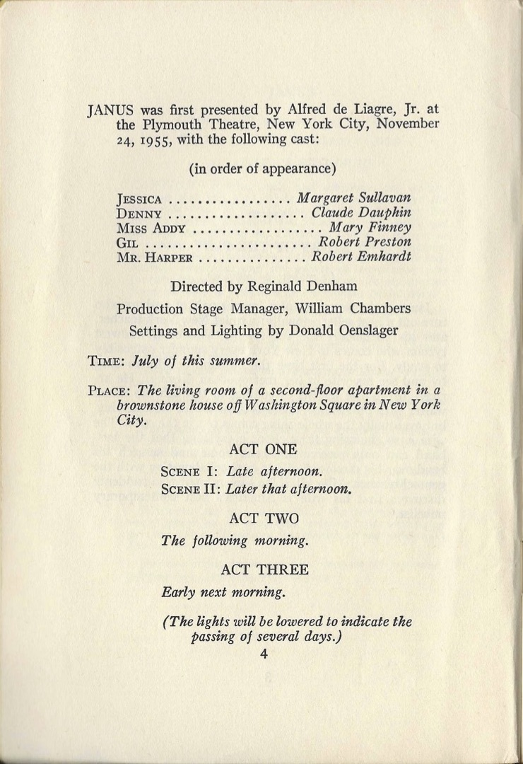 Page 4 of the script of Janus showing the cast of the original production