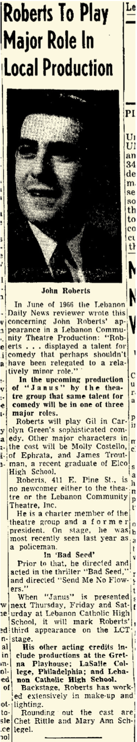 The Lebanon Daily News was good about giving LCTI publicity for its productions. This piece ran in the June 19, 1967 edition, three days before the opening night.
