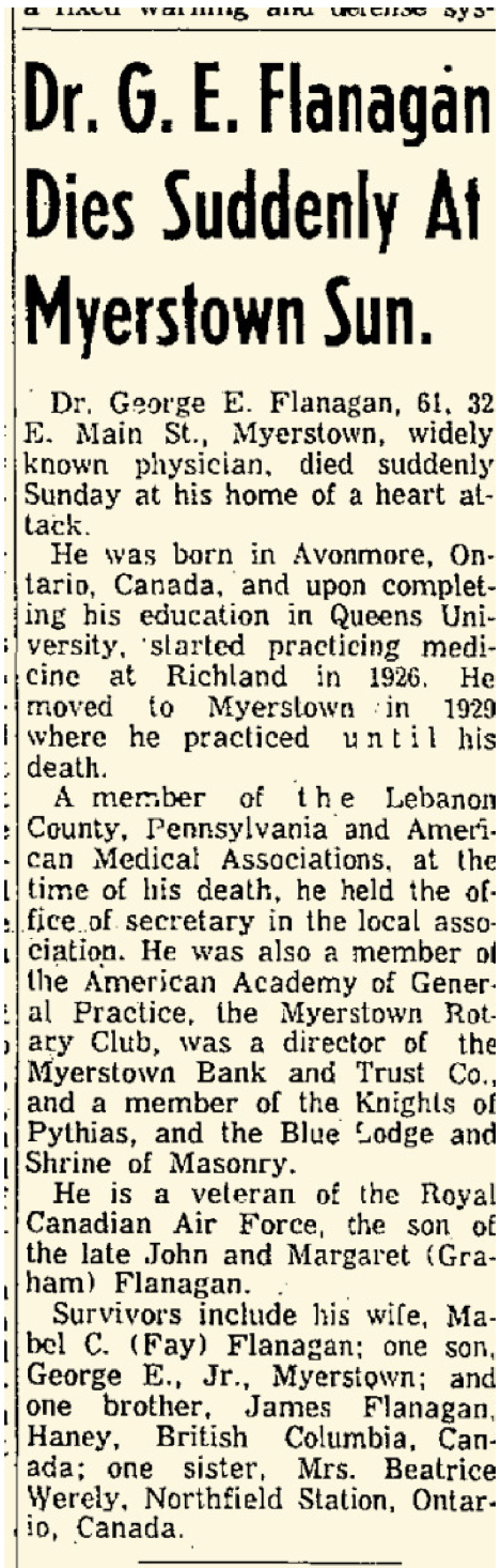 Dr. George E. Flanagan's death notice in the Lebanon Daily News on May 25, 1959