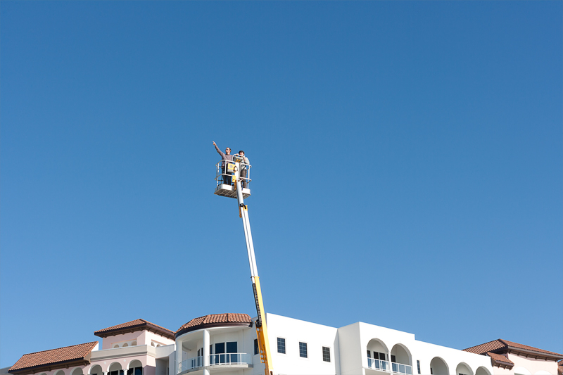 Attic Fire in Cherry Picker at Diamond Beach Resort