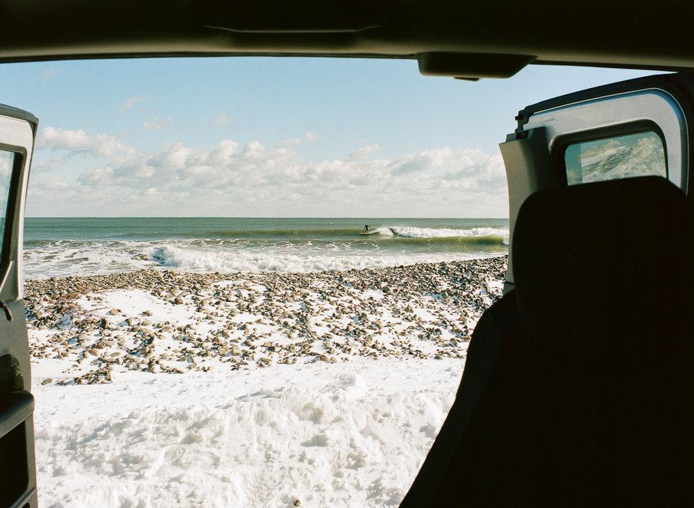 View of Roger Beal, Nantasket Beach, MA, Winter 2017, 120mm film
