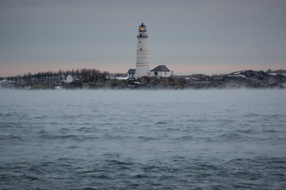 Boston Light, Sea Smoke, December 2017, Nikon DSLR