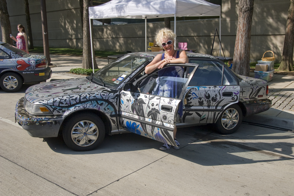 me & art car, side view - Dallas City Arts 6:09.jpg