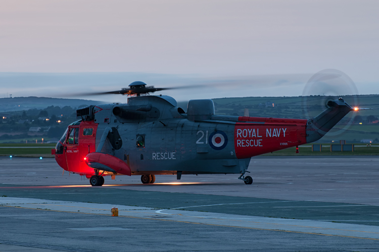 Long exposure of the 771 NAS Sea King Mk5 as the crew prepare to taxi out.