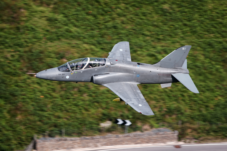 Finnish Air Force Hawk Mk51 low level through the Bwlch with the A470 in the background.