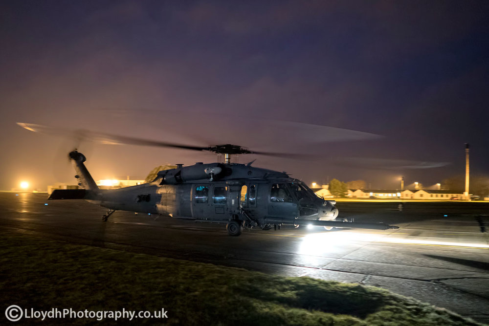 56th RQS HH-60G Pave Hawk taxiing out at RAF Lakenheath for a pairs night sortie.