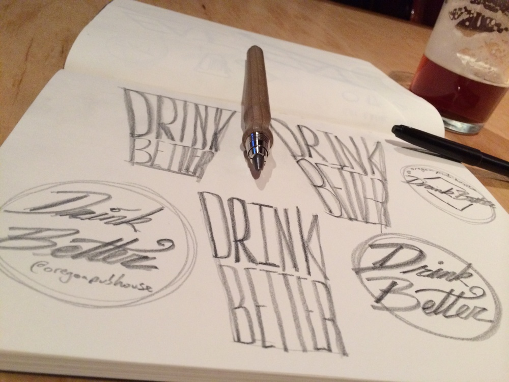 initial sketches for a new sub-brand of The Oregon Public House