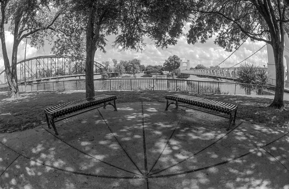 Bridges and Benches. Brazos River, Waco, Texas