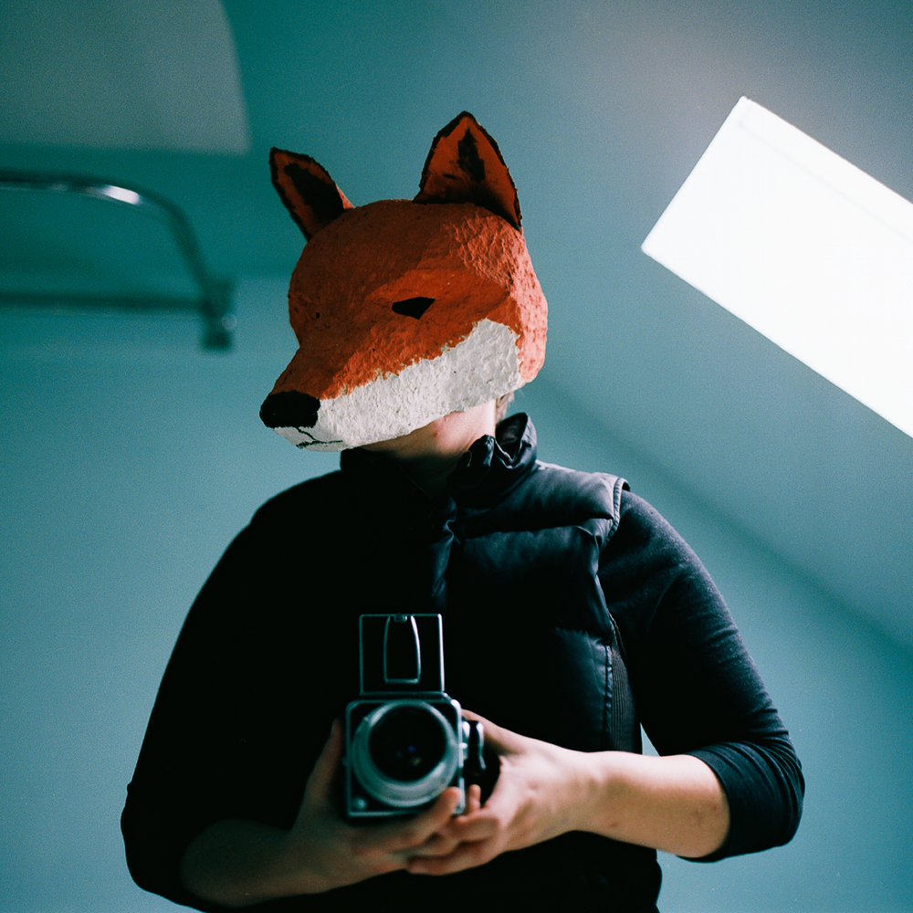 Jen Battis | Self Portraits With A Fox Mask | Hasselblad 500c 80mm
