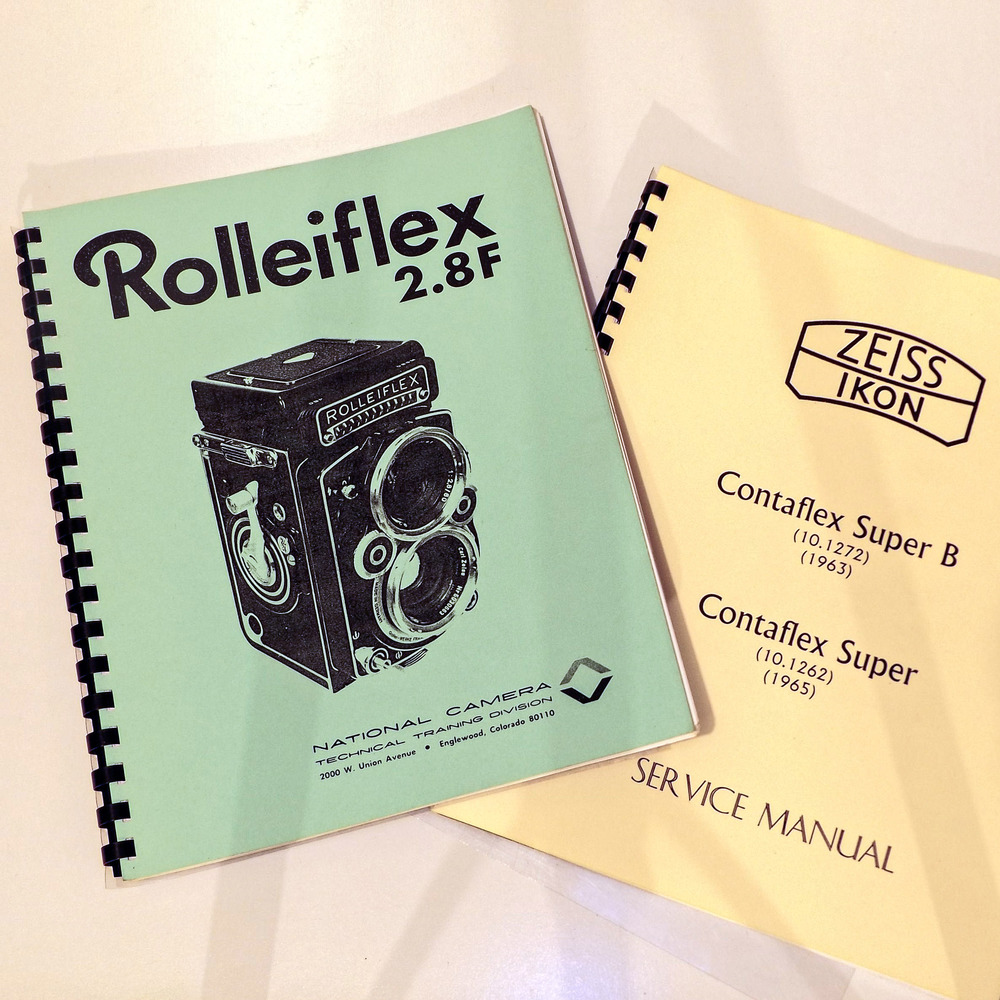 Availability of dedicated manuals varies, depending on age, rarity and, perhaps, collectability. If, like me, your tastes include such esoteric types as East German Praktina 35mm SLRs, you're on your own. Better known and longer-lived types, Eg. The definitive Rolleiflex—the 2.8F—have been covered by third parties (National Camera's effort is shown above). This book is also of some assistance with several other Rolleiflex models. Sometimes manufacturers published their own books, as in the case of the pictured Zeiss Ikon one for their Contaflex Super models. The above books both offer genuine help to self taught repairers—others, though, assume the reader is a factory trained technician, and consist of little more than specs and clearances. But sometimes even a few exploded diagrams or internal images are a whole lot better than nothing
