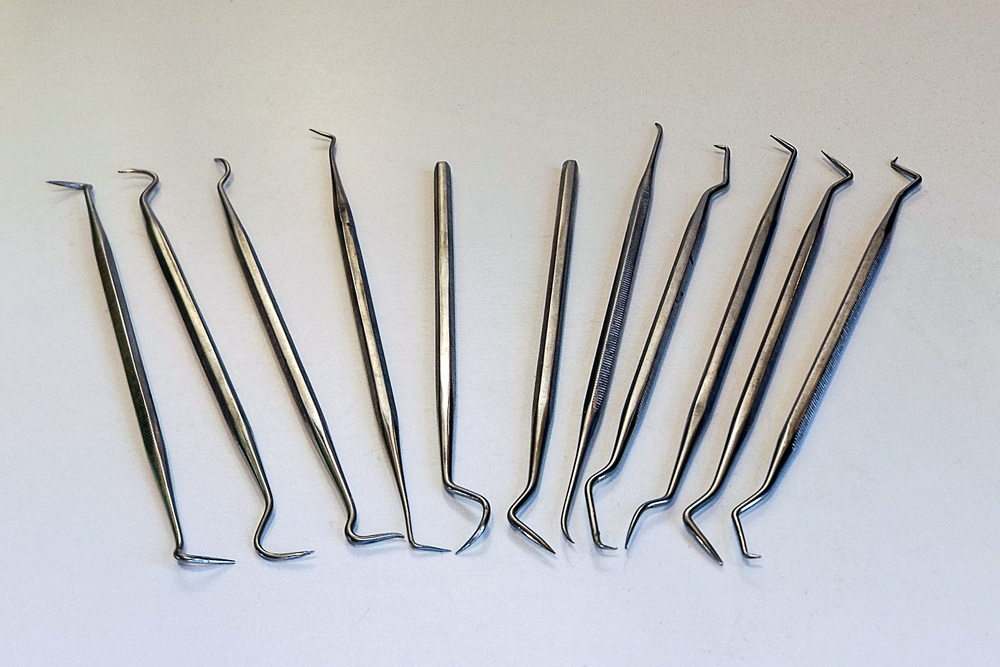 "The ""dental picks"" above are not medical grade. They were bought via eBay for around $20. They're not as durable as proper dental picks, but neither are they as expensive. If you have a dentist in the family, perhaps you'll be able to find some genuine ones? But for unhooking and attaching small springs and other fiddly tasks, these hobby ones will do the job just fine."