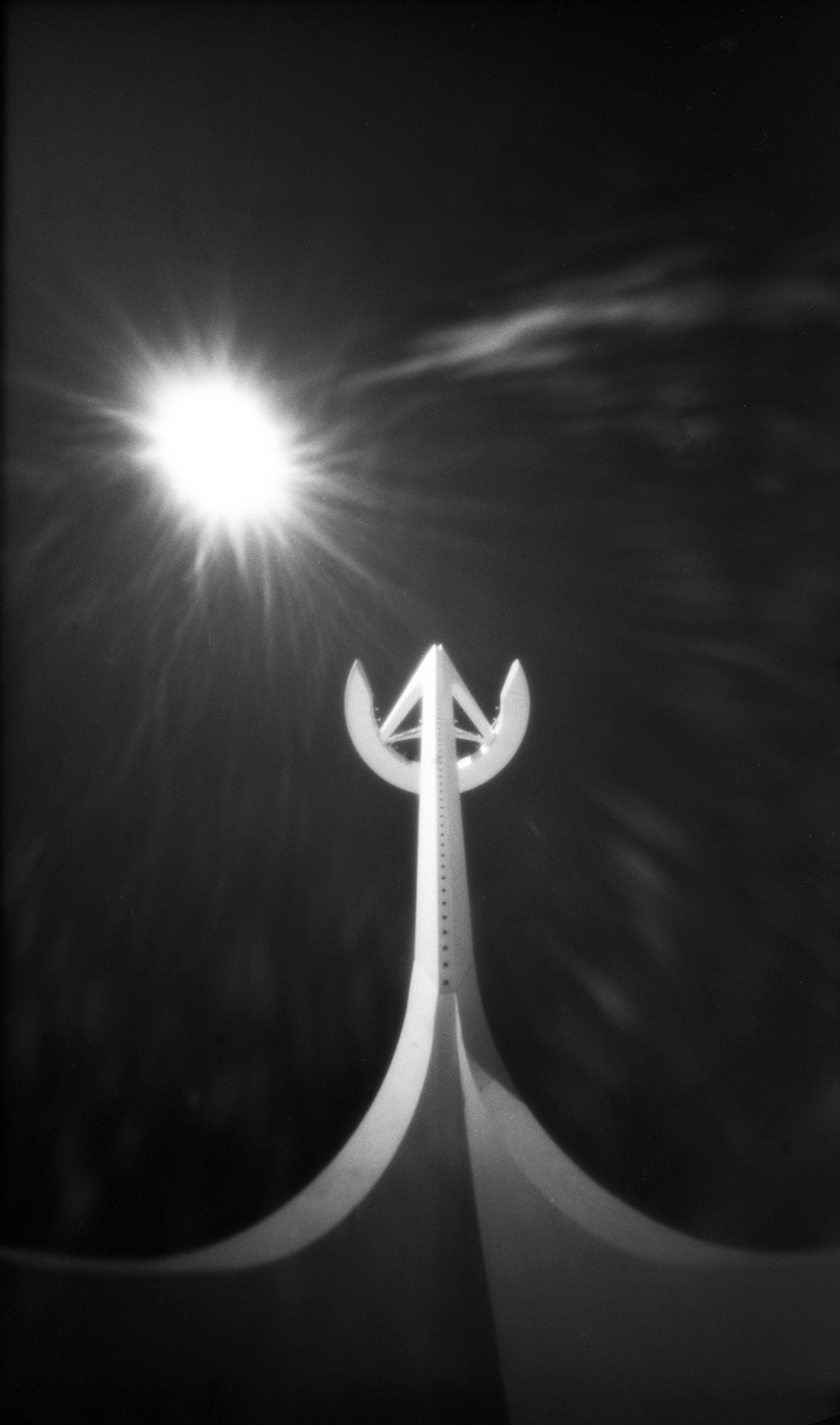 Communications tower - Barcelona, Spain - Efke IR 820 in a 8banners 6x9 pinhole camera with Hoya R72 filter