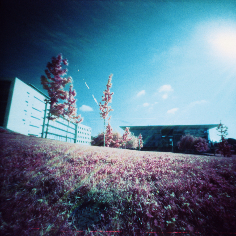 Nexus II Building - Barcelona, Spain - Kodak Aerochrome 120 400 ASA in a hacked Digna Certex 6x6 pinhole camera